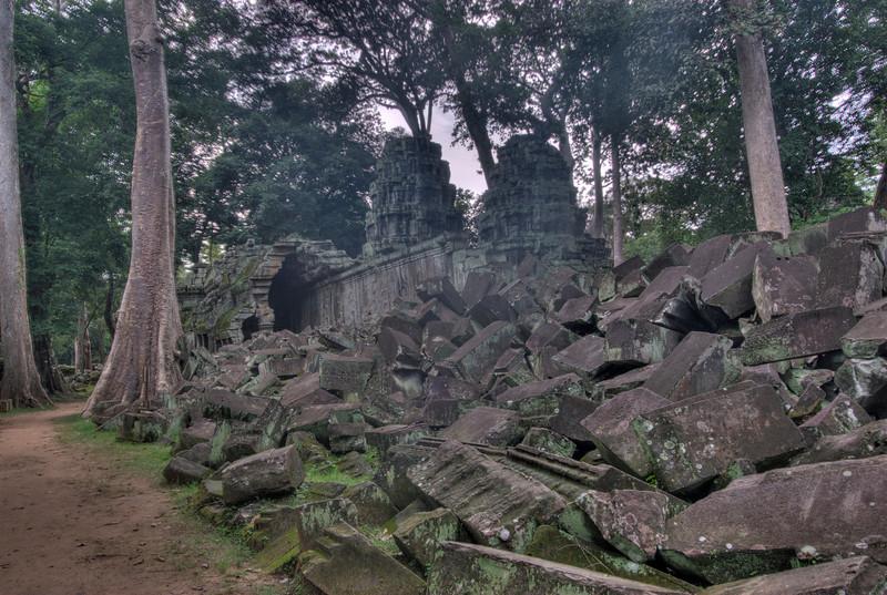 Ruins inside Ta Prohm in Angkor Wat Temple