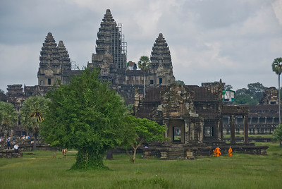 Monks outside the Angkor Wat temple complex