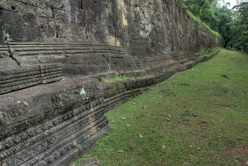 Moss covered walls of Angkor Thom in Cambodia