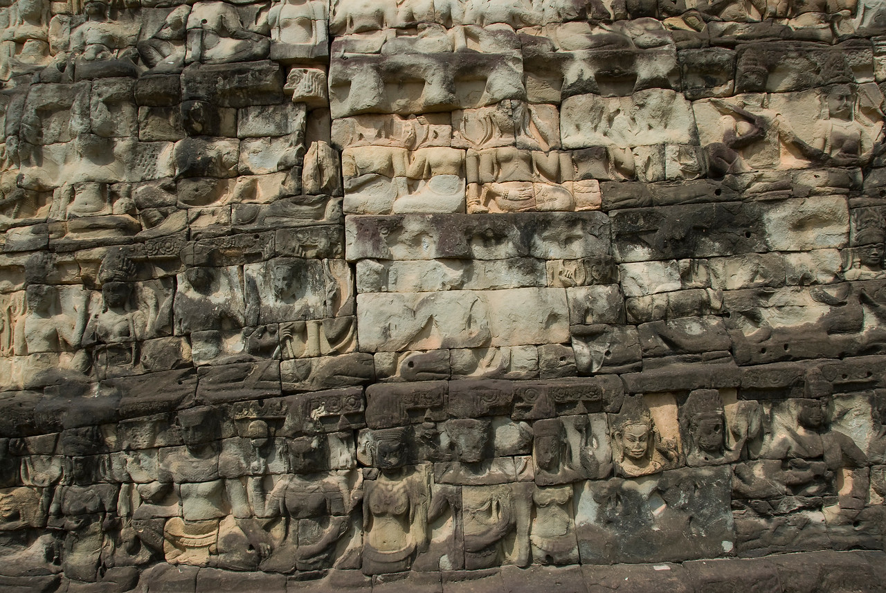 Bas Relief on the walls of Bayon Temple, Cambodia
