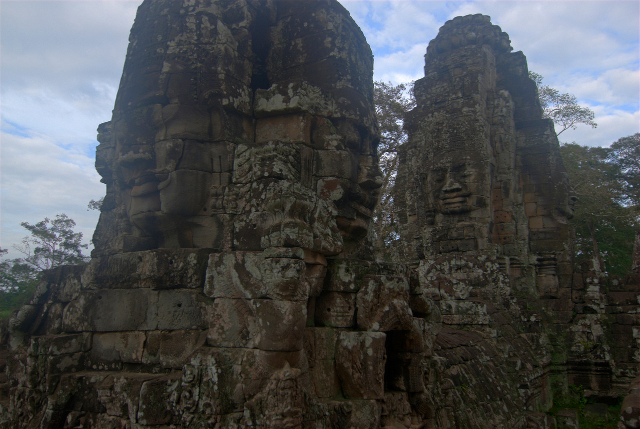 Two faces at the Bayon Temple towers