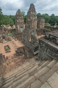 Looking down the main stairway into the complex at Angkor Wat