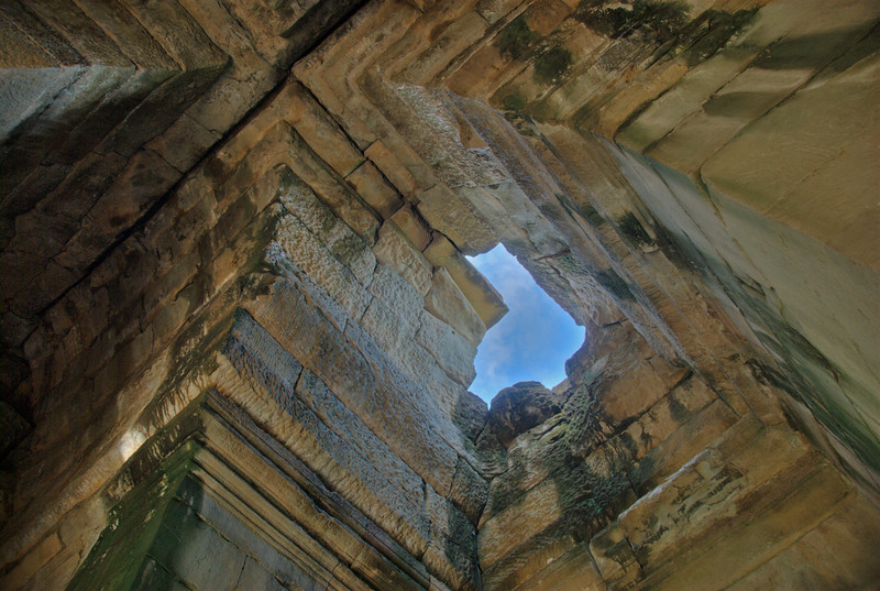Hole in a ceiling inside the Angkor Wat Temple