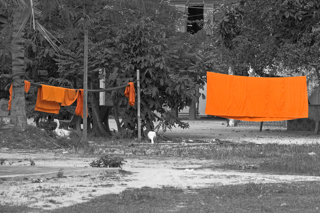 Monk robes hung to dry at Wat Atewa in Cambodia