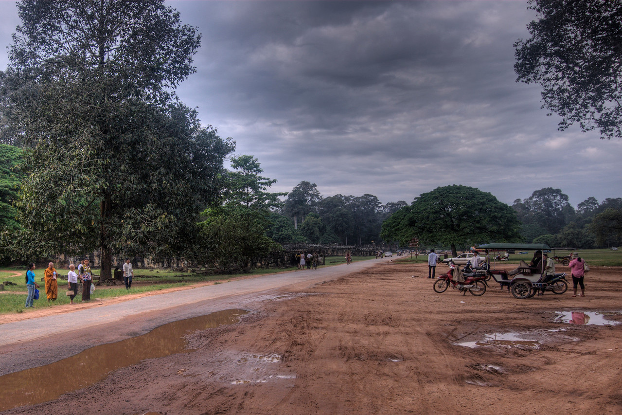 Parking lot at the Bayon Temple in Cambodia