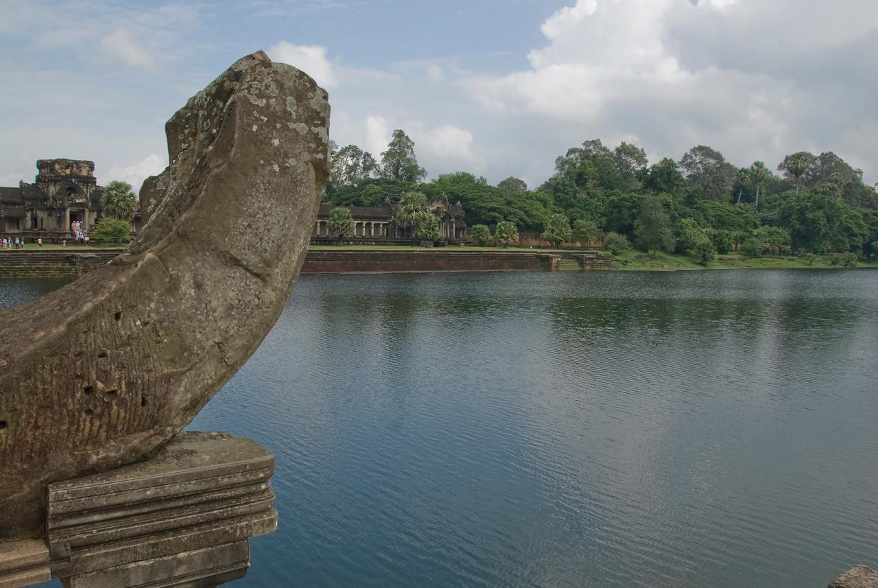 Still water at the Angkor Wat moat in Cambodia