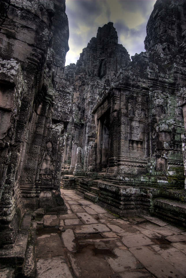 Inside the halls of Bayon Temple in Cambodia