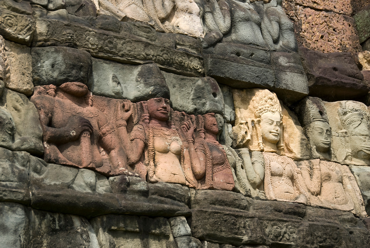 Bas Relief at Bayon Temple in Cambodia