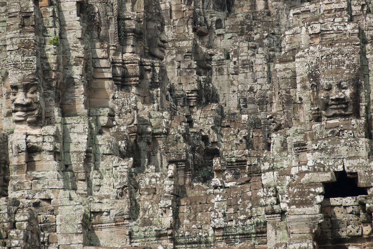 Head carvings at Bayon Temple in Siem Reap, Cambodia