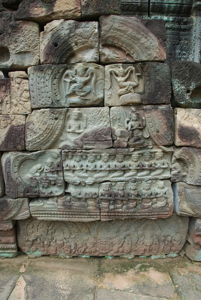 Bas Relief on the wall of Ta Som, Cambodia