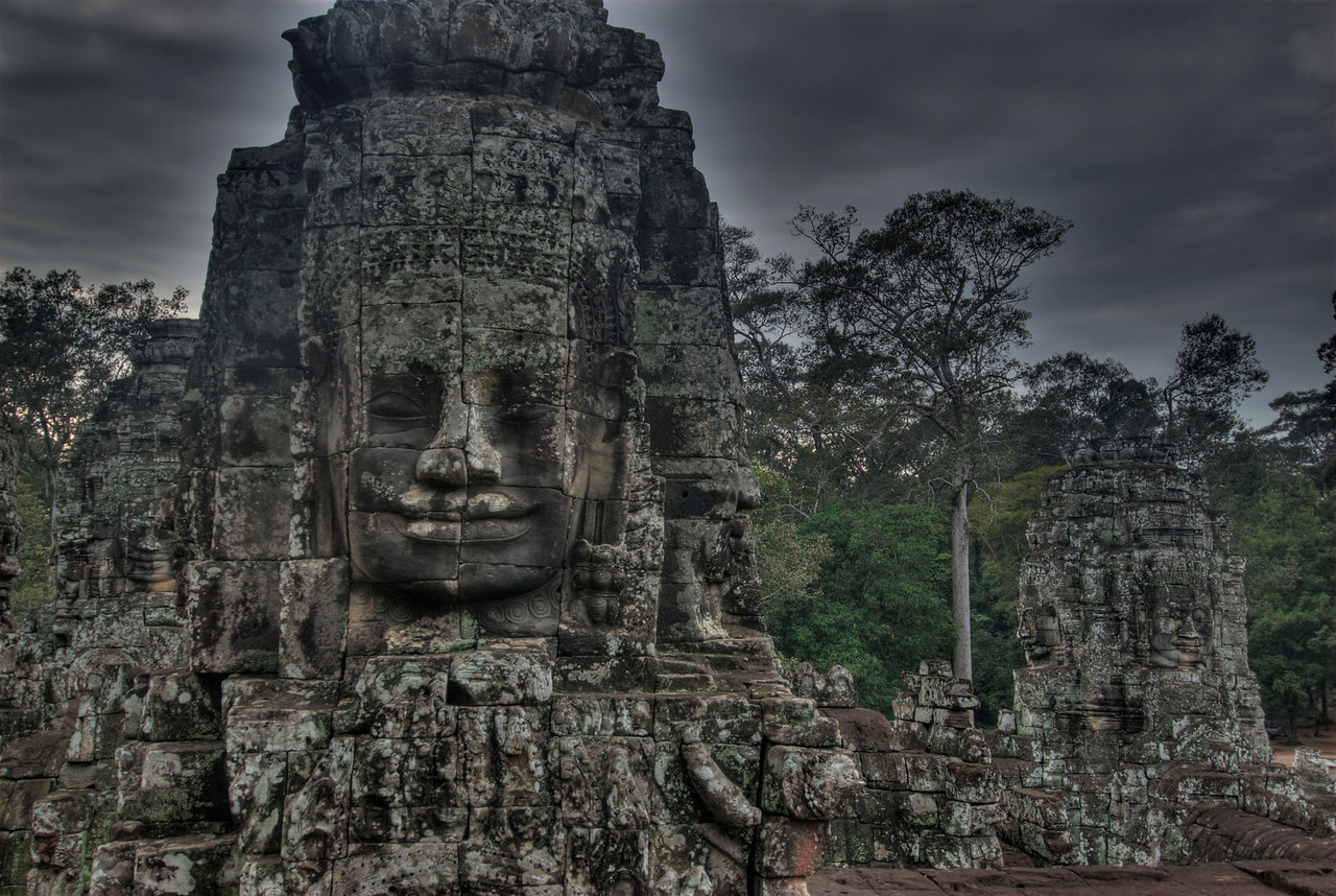 Isolated shot of a carved face in the Bayon Temple
