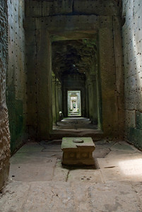 Long hallway inside the Angkor Wat temple ruins