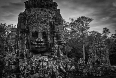 Darker shot of Bayon Temple carving