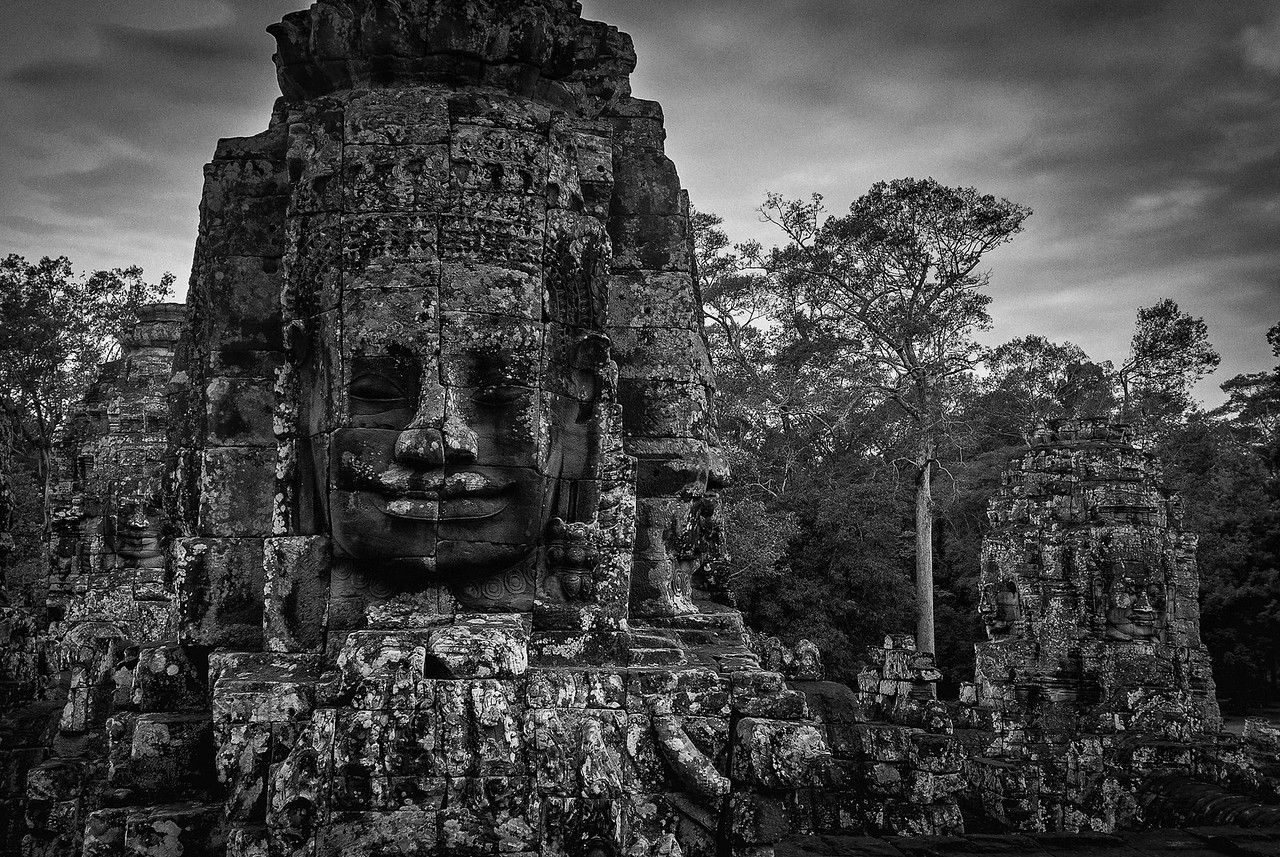 Darker shot of Bayon Temple carving