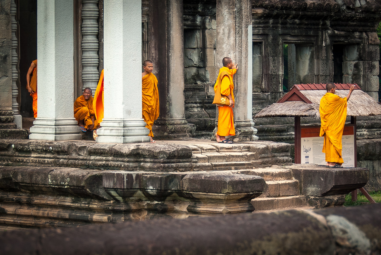 Buddhist monks gathered at Angkor Wat in Cambodia