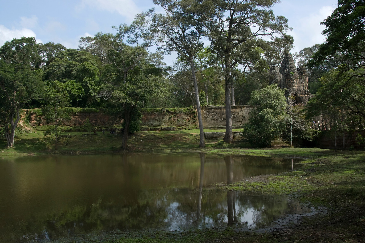 A stream near Angkor Thom Gate in Siem Reap, Cambodia