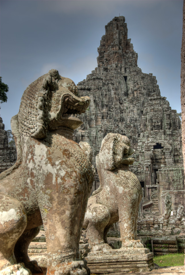 Two lion statues in front of Bayon Temple in Cambodia