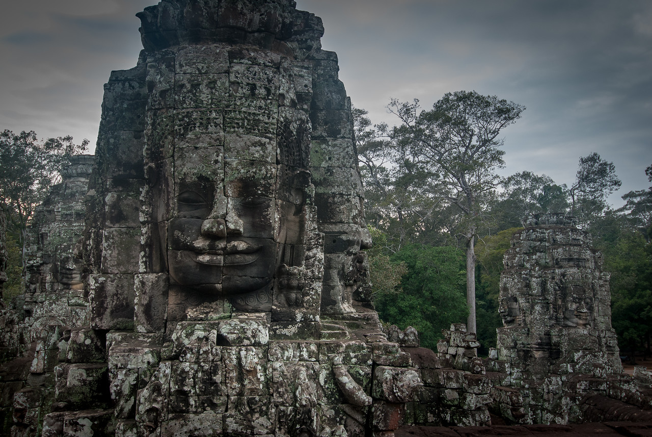 Face carving at Bayon Temple in Cambodia