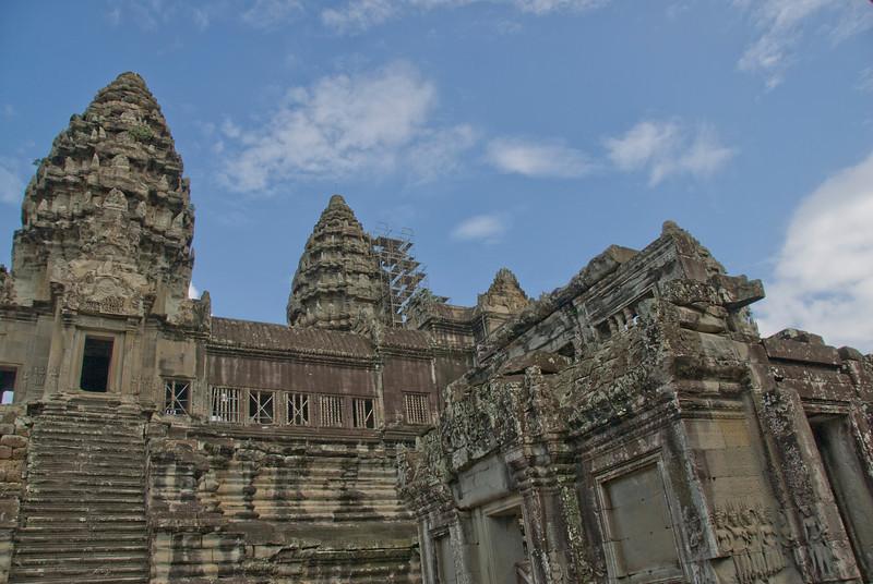 Towers of Angkor Wat against beautiful, blue sky in Cambodia
