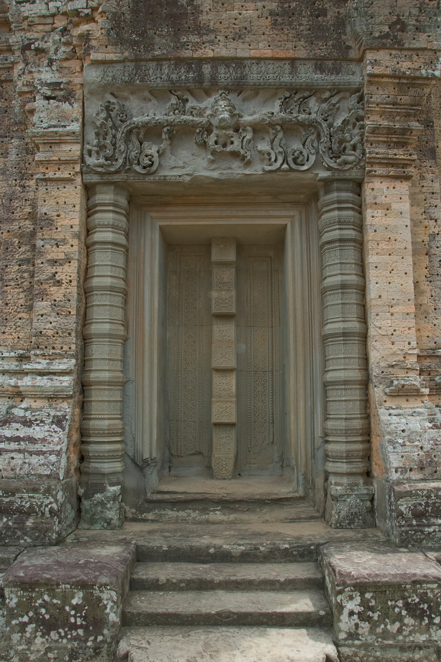 Inscriptions at a doorway in the Angkor Wat temple