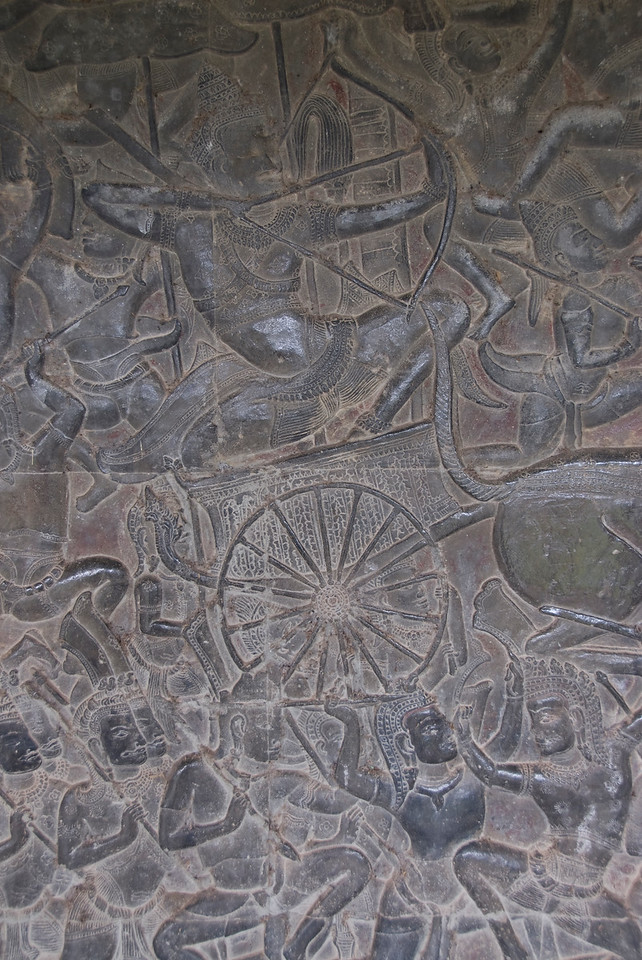 Bas relief inside the Angkor Wat temple