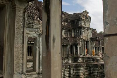 Shot of Monks outside the Angkor Wat ruins