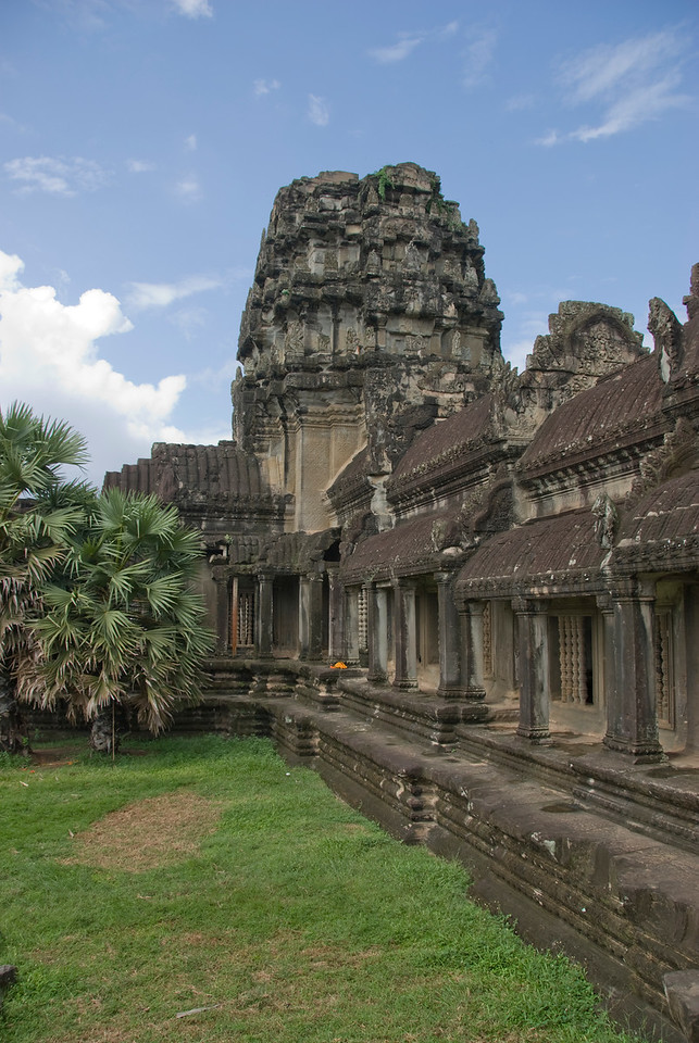 A different perspective on the facade of Angkor Wat in Cambodia