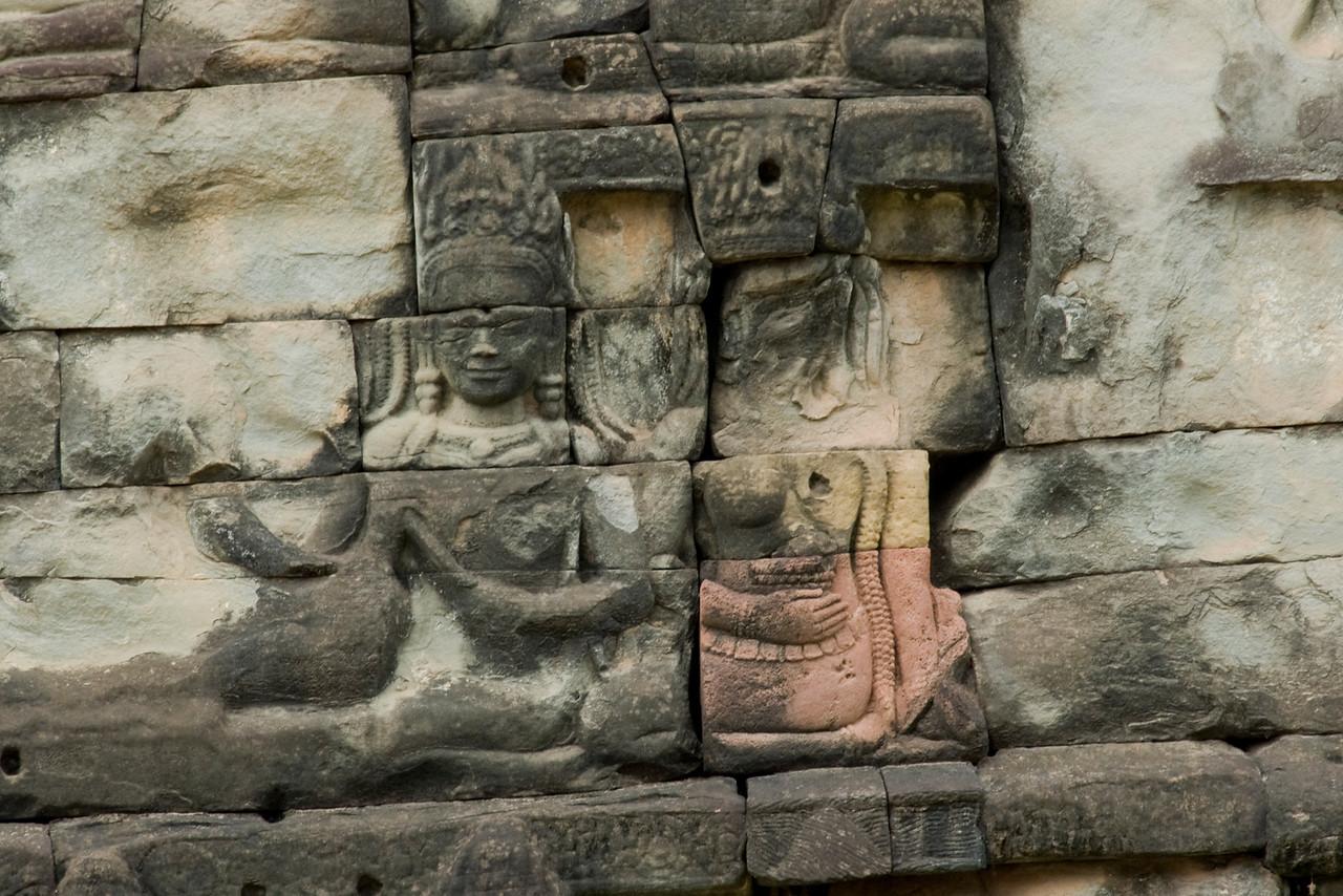 Details of Bas Relief at Preah Kahn in Cambodia