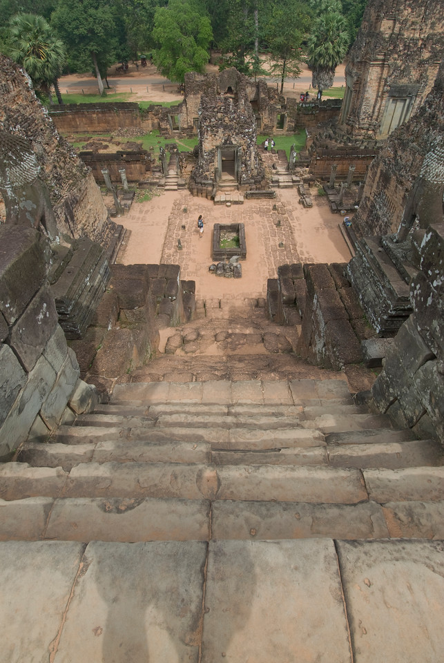 Looking down the main stairway of the ruins of Angkor Wat