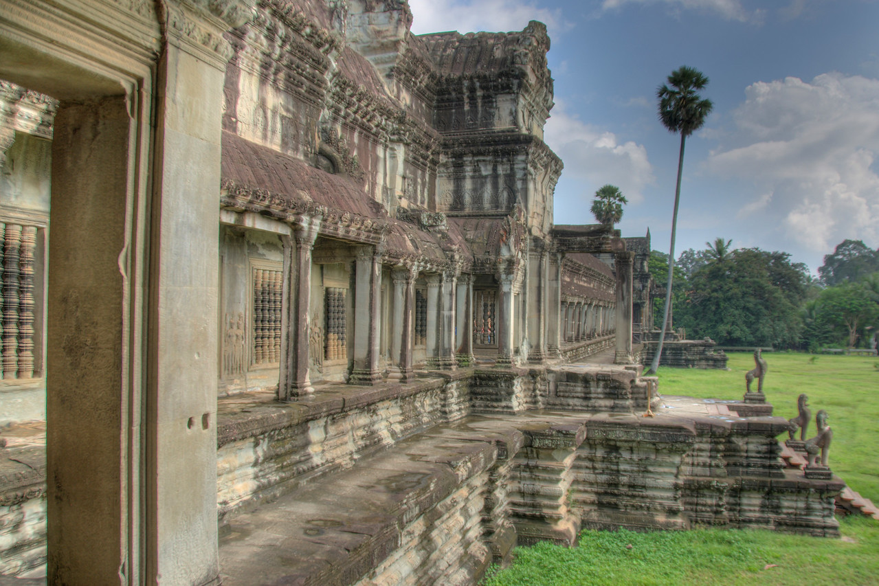 Shot of the facade of the Angkor Wat in Cambodia