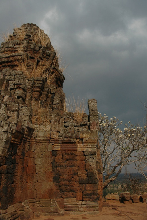 Wat Banan Under Dark Clouds - Battambang, Cambodia