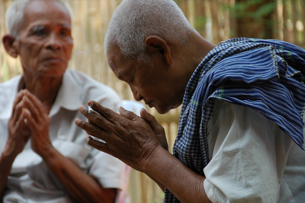 Elders Praying - Battambang, Cambodia