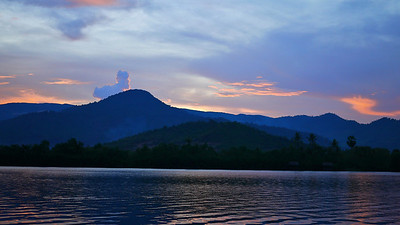 A pretty sunset on the lower Mekong River from Kampot, Cambodia.