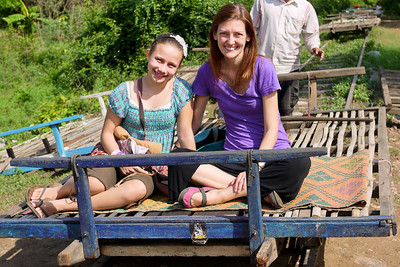 Ana and I ride the old bamboo train in the outskirts of Battambang, Cambodia.