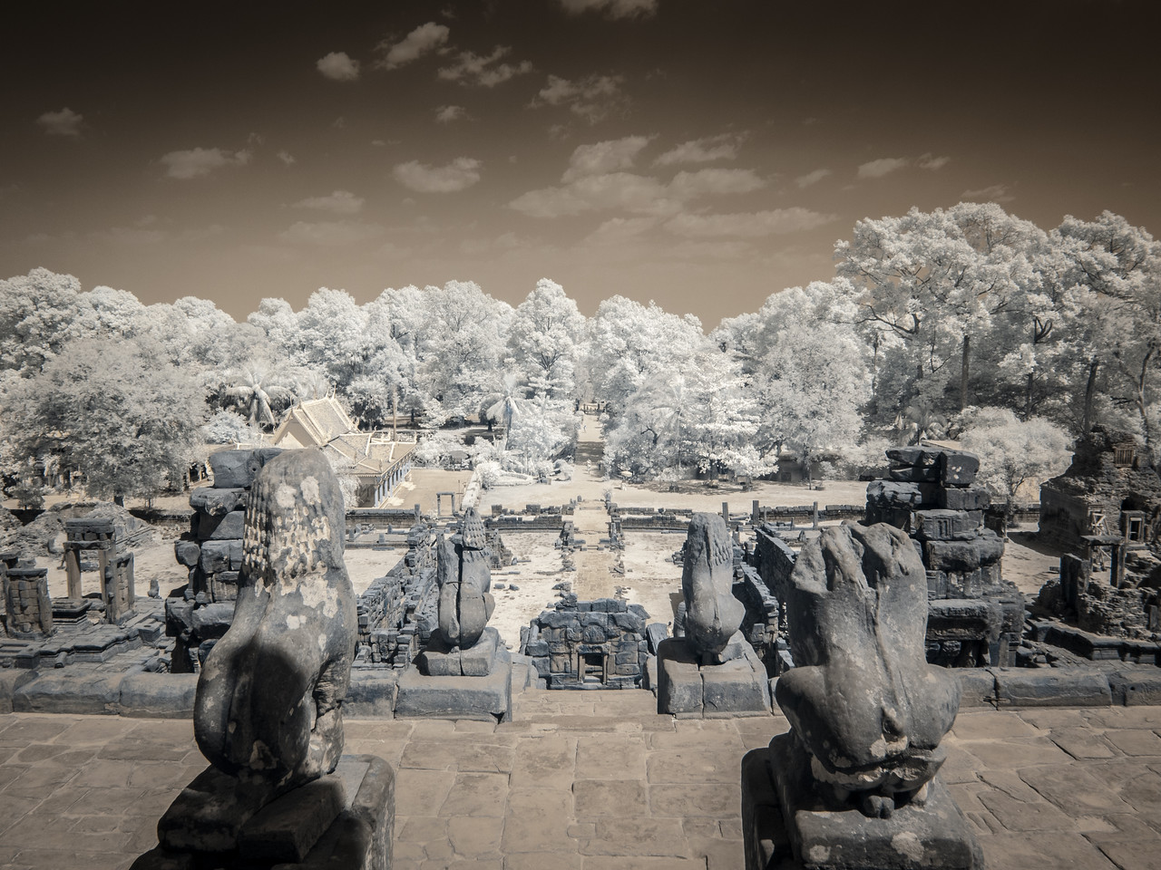Looking at the east approach to Bakong Temple.