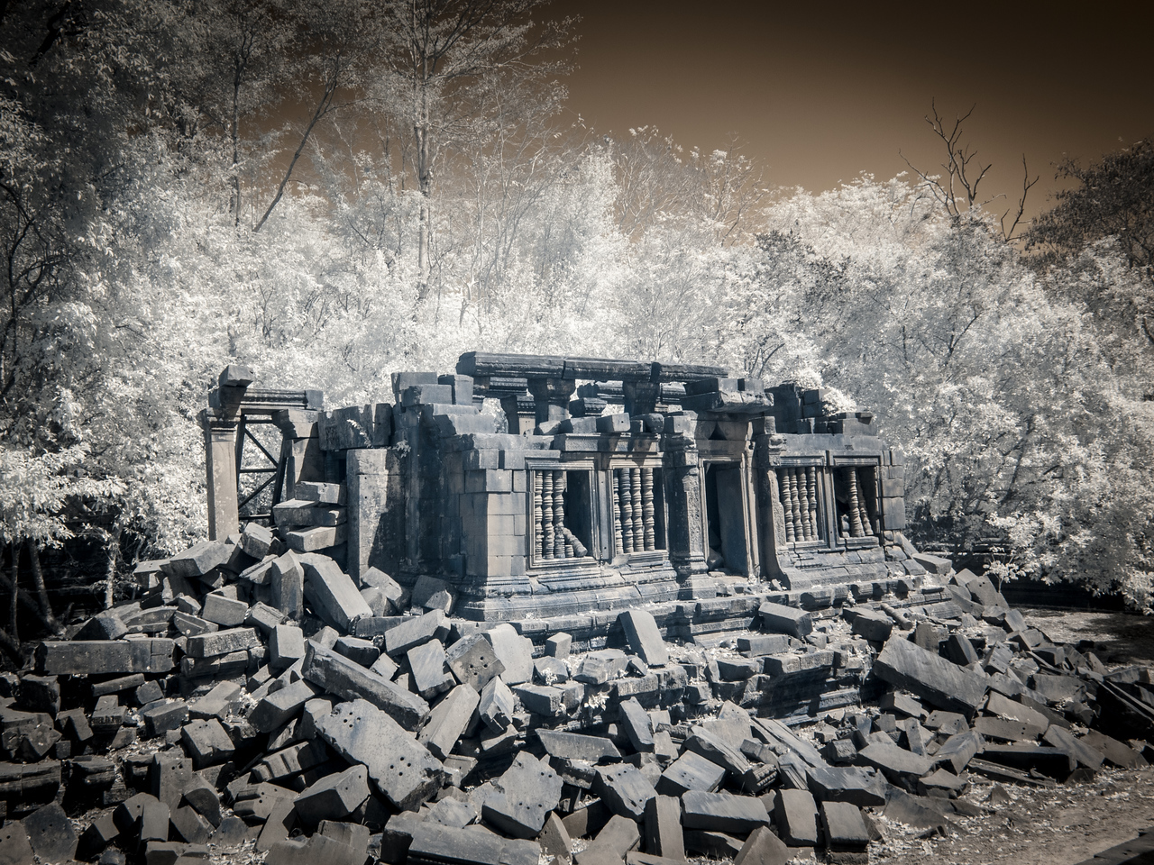 The ruins of the library.