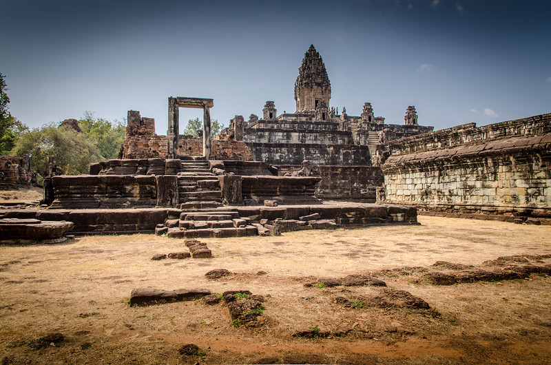 Bakong (Khmer: ប្រាសាទបាគង) is the first temple mountain of sandstone constructed by rulers of the Khmer empire at Angkor near modern Siem Reap in Cambodia. In the final decades of the 9th century AD, it served as the official state temple of King Indravarman I in the ancient city of Hariharalaya, located in an area that today is called Roluos.