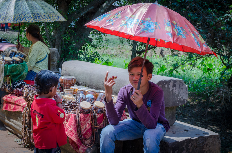 A young vendor at Beng Mealea.