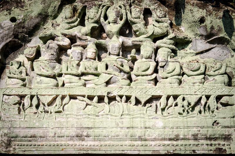 A detail above a doorway. Beng Mealea was built as a Hindu temple.