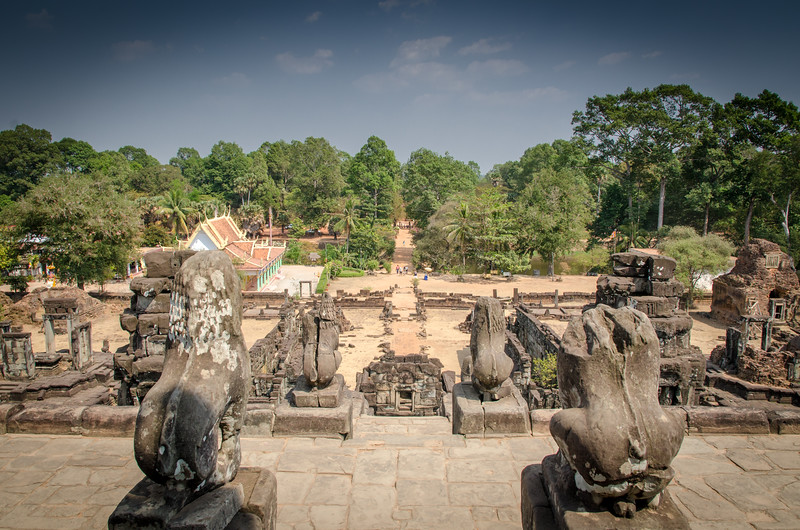 Looking toward the eastern approach to the Bakong Temple from on top of Bakong.