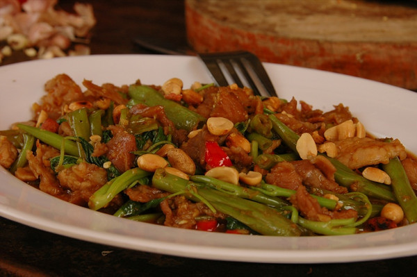 Stir-Fried Beef, Morning Glory, Holy Basil with Roasted Peanuts - Battambang, Cambodia