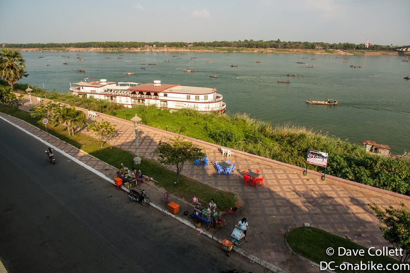 Fishing on the Mekong at Kampong Cham- view from my $5 Hotel room.