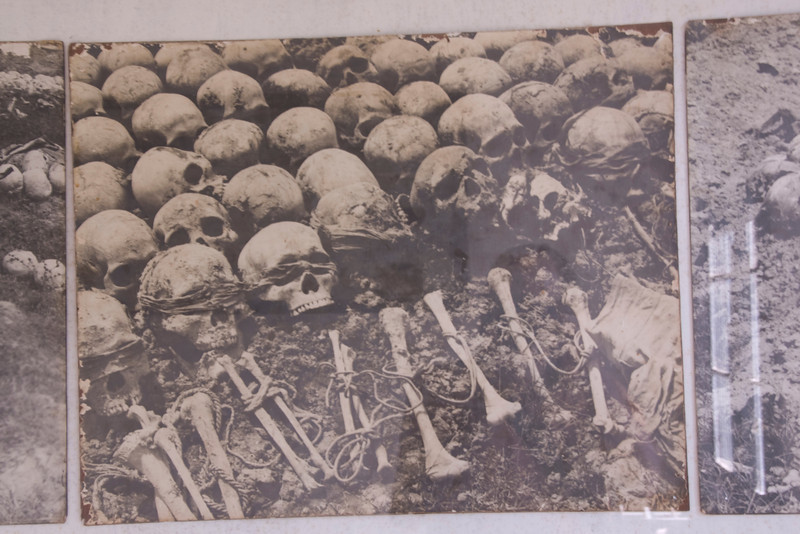 Photo of Skulls found on grave sites in Toule Seng Prison