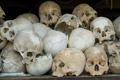 Closer look of skulls at the Killing Fields