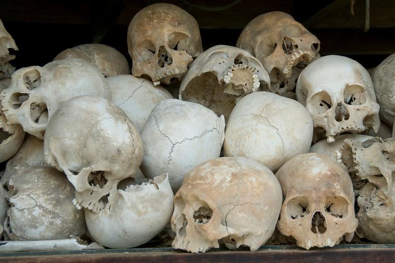 Closer look of skulls at the Killing Fields
