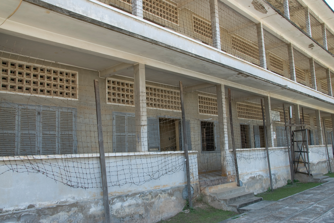 Shot of the facade of Building B in Toule Seng Prison