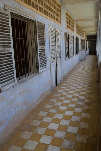 Shot along the Building A hallway in Toule Seng Prison
