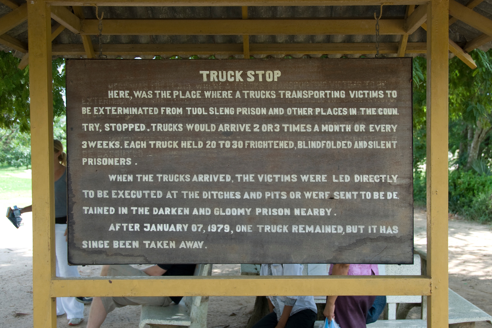 Sign at the truck stop of Killing Fields in Phnom Penh