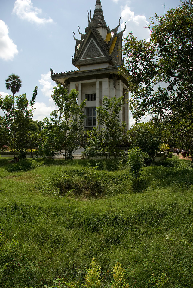 Shot of the victims' pagoda from the mass grave in the Killing Fields
