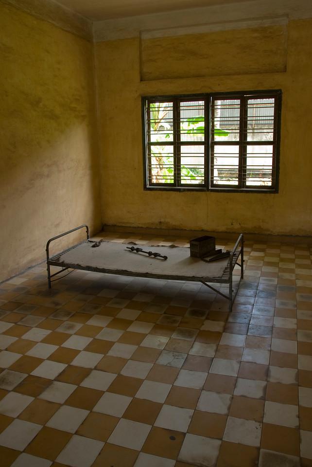 A prison bed near a window in Toule Seng Prison in Phnom Penh, Cambodia